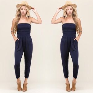 NWT $79 Strapless Tube Top Jogger Jumpsuit